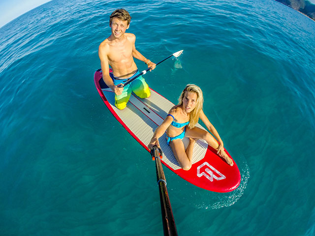 Marco Maradei: Chillin' on the SUP when the wind isn't blowing for kitebarding. Sardinia's sea is so clear, love that place.