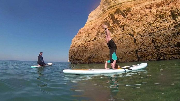 Nick Robinson: Carling doing a head stands on the southern Algarve coast!
