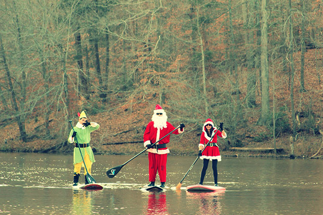 """Stephen Weisweaver: """"A family that """"Santa SUP's"""" together, stays together""""...Velvet Siervo, Stephen and SA Weisweaver at Bull Run Marina, VA - Nov 28, 2014."""