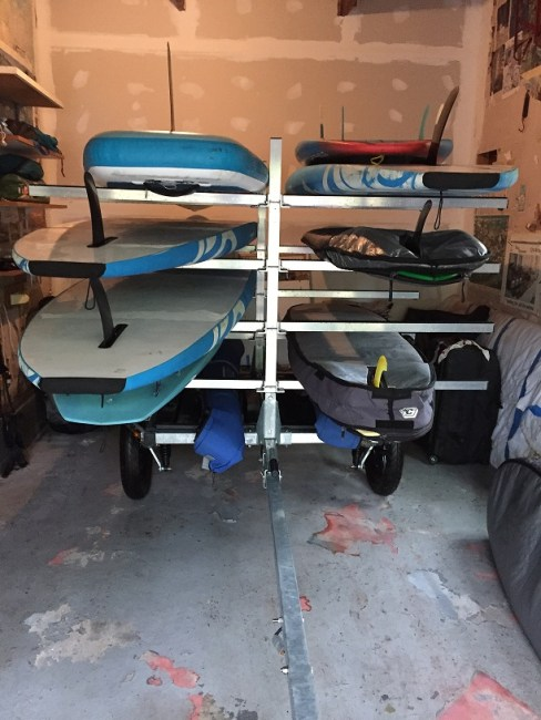 Sportsrig trailer for indoor standup paddleboard storage