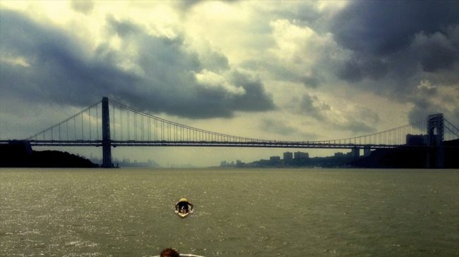 SEA Paddle NYC George Washington Bridge prone paddler