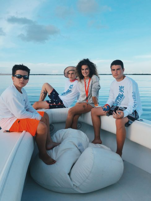 Chloe Dubois and family Crossing for Cystic Fibrosis boat