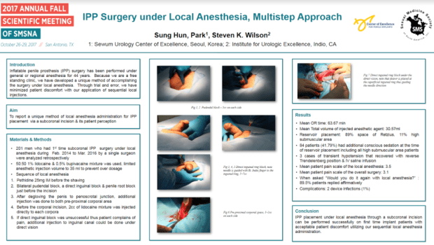 Dr. Park presents Penile Implant Surgery under local anesthesia