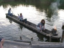 Re-creation of a log boat like the ones found