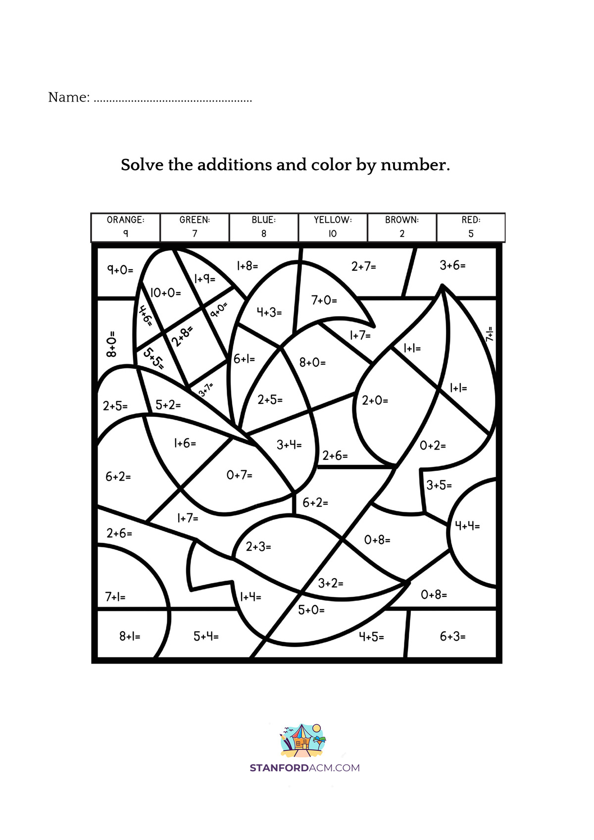 1st Grade Color By Addition Worksheets