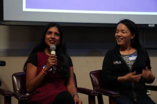 Panel with industry researchers. Pictured here Nandita Dukkipati and Pi-Chuan Chang