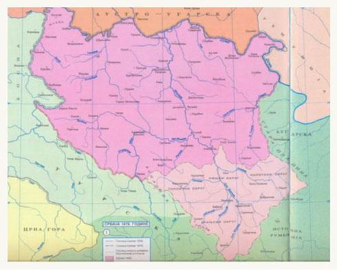 Карта Србије из 1878.године Српски народ је у време догађаја о којим говоримо био подељен на неколико црквених организација: -у ослобођеној Србији је била аутокефална Српска црква у Србији, -изнад реке Саве, у тадашњој Аустроугарској Карловачка митрополија која је за поглавара имала патријарха у Сремским Карловцима, -у Босни и Херцеговини и јужним деловима под турском влашћу Срби су припадали Васељенској патријаршији,-у Црној Гори су због нередовног стања архијереји били су хиротонисани од Карловачког митрополита, или, од руских архијереја, -Беч је створио и једну чудну црквену организацију, у складу са својом политиком ометања православних: српско-румунско-русинску митрополију са седиштем у Бечу. Овој митрополији припадали су православни у Далмацији и Боки.
