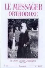 Насловница броја часописа - Le Messager orthodoxe - Православни весник - посвећеног оцу Јустину 1981.