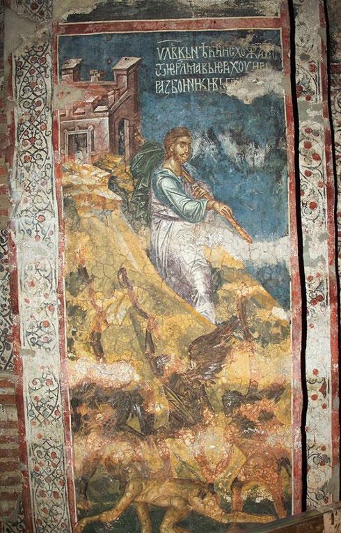 Парабола О добром Самарјанину, фреска у манастиру Дечани, прва половина 14. века. Тумачење приче је овде потпуно символичко. Разбојници су заправо демони који пљачкају и повређују човека на његовом животном путу, а добри Самарјанин - сам Христос.
