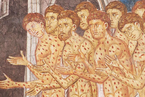Исцељење десеторице губавих, фреска у српском манастиру Дечани, средина 14. века. Детаљ
