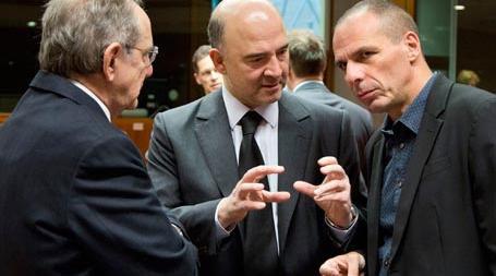 Састанак министара финансија еврозоне: Pier Carlo Padoan, Pierre Moscovici, Yanis Varoufakis (Брисел, 10. 3. 2015)