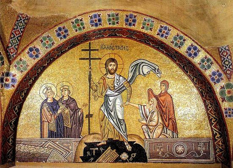 Васкрсење Христово. Мозаик манастира Осиос Лукас. 11. в.