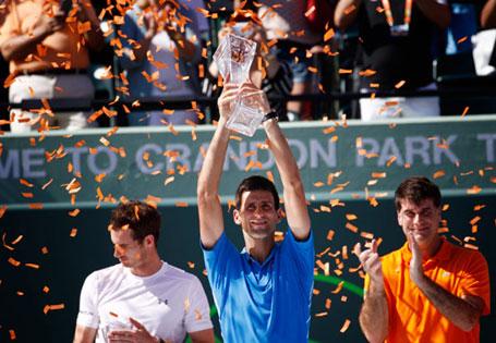 Мајами, 05.04.2015 - најбољи светски тенисер Новак Ђоковић победио је у мечу против британског тенисера Енди Мареја у финалу мастерс турнира у Мајамију, 2:1; 7-6 (3), 4-6, 6-0