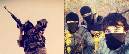 """Лево: Недатирана фотографија Абу Рофика током војне вежбе у Сирији (Фото: Malhama Tactical/ Vkontakte); Десно: Абу Рофик и два члана Малхама тактикала позирају за """"селфи"""" (Фото: Malhama Tactical/ Vkontakte)"""