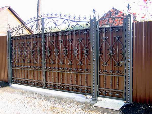 Ворота из профиля с элементами ковки фото – эскизы ...