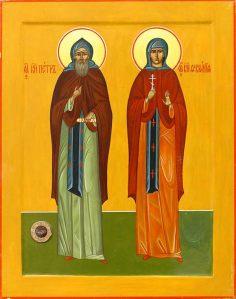 Икона «Святые благоверные князие Петр и Феврония Муромские Чудотворцы» с частицей мощей