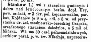 Słownik geograficzny Królestwa Polskiego i innych krajów słowiańskich, Stańków