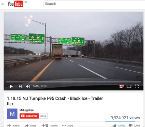 YouTube video of jack-knifed trailer in New Jersey