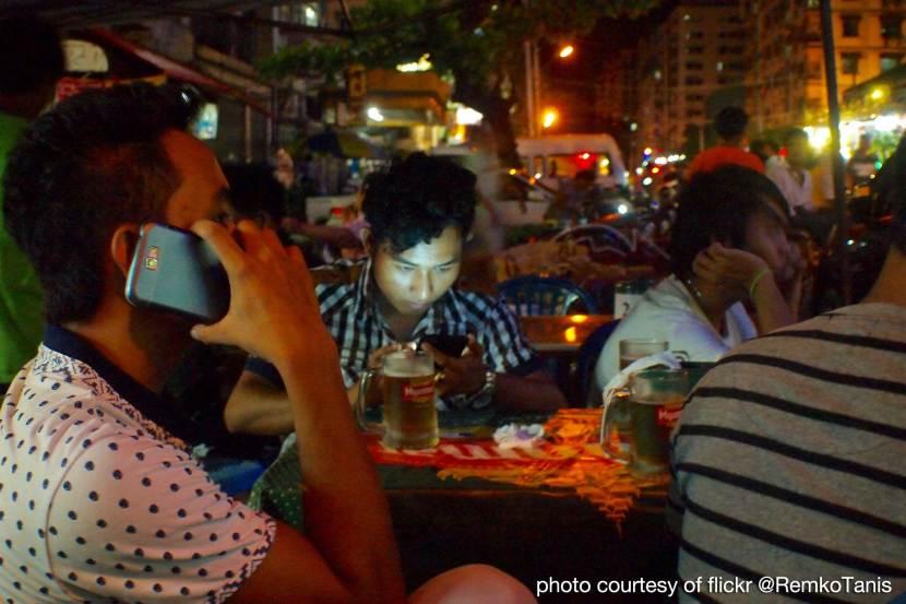 Mobile phone user, Yangon