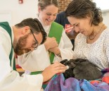 2016 Blessing of the Animals: James blesses Carol Anne's rabbits
