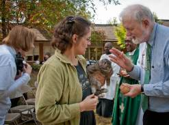 2011 Blessing of the Animals: Fred blesses one of Carol Anne's rabbits