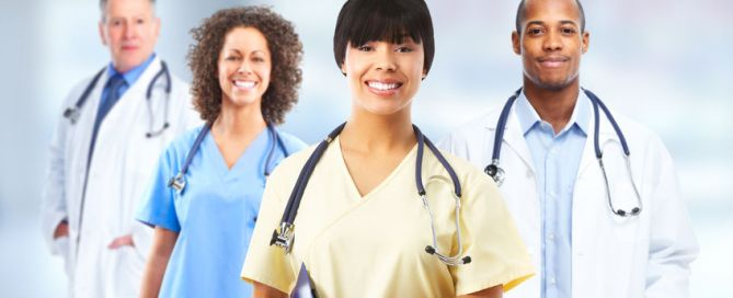 group of hospital doctors over health care clinic background.