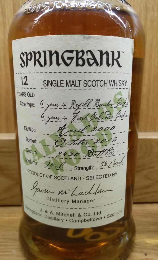 Springbank 12  Year Old Calvados Wood
