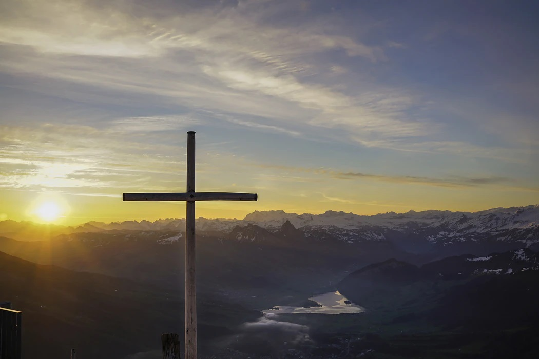 A cross on a mountainside on Good Friday