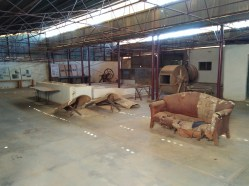 Inside the tannery.