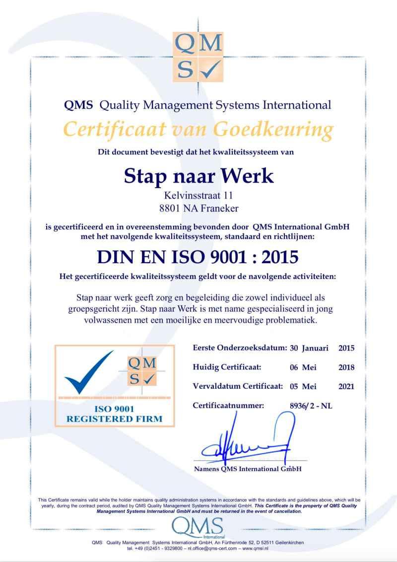 QMS ISO 9001 Certificaat