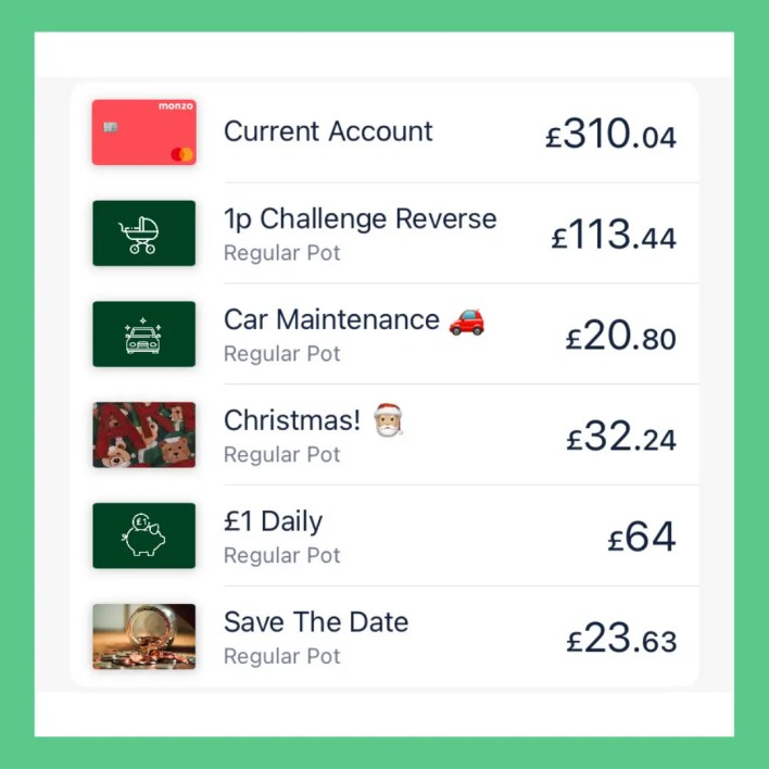 A shot showing my pots in my Monzo current account