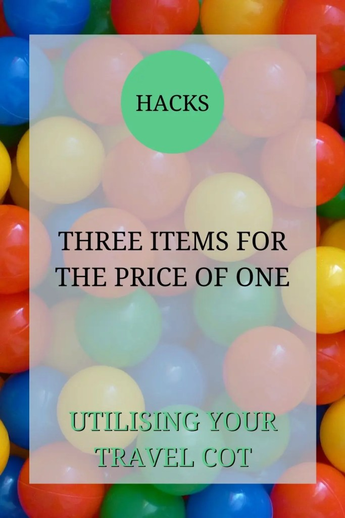 A picture of some multi-coloured plastic balls (the type you'd usually find in a ball pit). The text over the image reads: 'Hacks: three items for the price of one -- utilising your travel cot.'