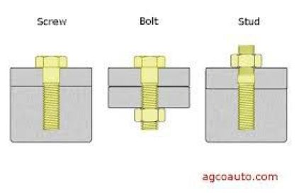 Difference between a screw, a bolt, ans a stud