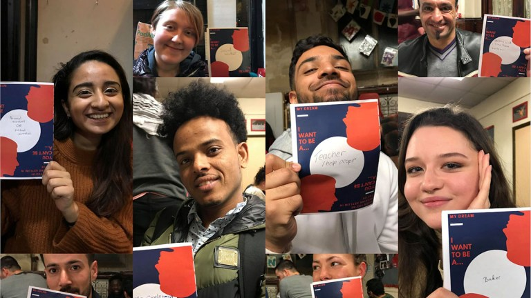 A collage of photos consisting of Cardiff STAR students and learners from their conversation club holding up action cards that describe their dream jobs. Cardiff STAR hosts a weekly conversation club for people from refugee backgrounds.