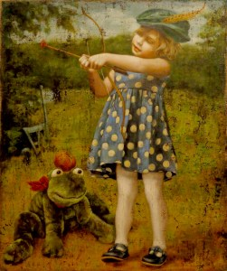 "Jill McVarish's ""A is for Archer Who Shot at a Frog,"" oil on burlap, is on display at Guardino Gallery."