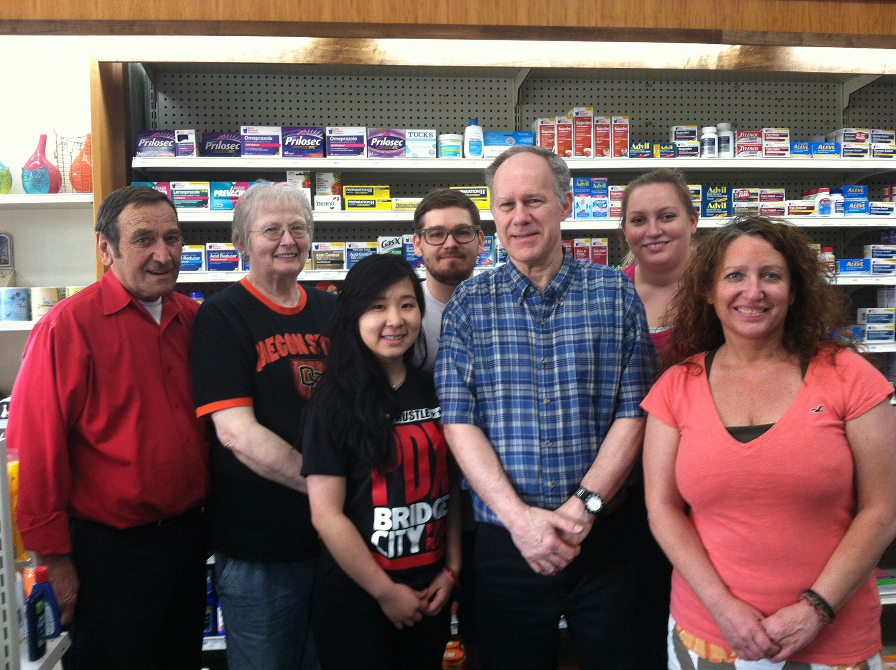 Gary Balo and the crew at Paulsens Pharmacy. (Jane Perkins)