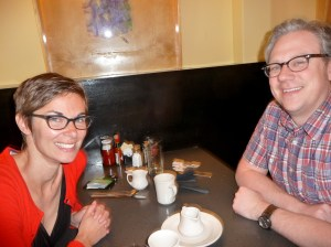 "Brooke Herout, left, and Jim Herout frequently walk to breakfast at Milo's, first recommended to them by their real estate agent five years ago. ""It has  consistently good food,"" Brooke Herout says. (Janet Goetze)"