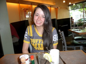 "Chelsea Brayfield, who works late at Buffalo Wild Wings, isn't an early riser but she frequently has breakfast at Milo's. ""I love this place,"" she says. ""I'll get out of bed  to come here."" (Janet Goetze)"