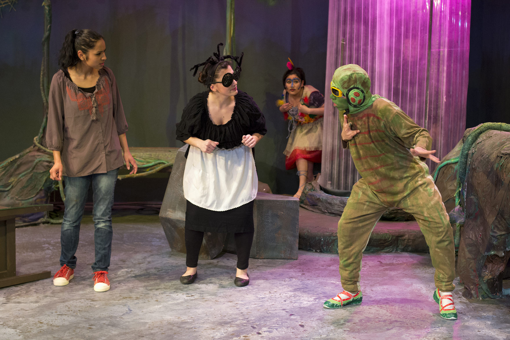 From left, Siumara Samayoa, Gabriela Dipascuale, Rosa Cristobal and Juan Antonio Martínez in Miracle Theatre Group's production of  Jardín de Sueños. (Miracle Theatre Group)