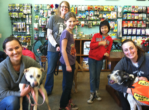Volunteers from Family Dogs New Life recently brought some of the shelter's pooches to meet neighbors at Salty's Dog & Cat Shop. The Mississipi Ave. pet supply store, which supports several animal service and rescue groups, will celebrate its ten-year anniversary this month. (Ted Perkins)
