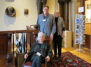 Architectural Heritage Center's volunteer manager, Ita Lindquist, with volunteers Ross Plambeck and Nancy Carr, await visitors in the lobby of the Architectural Heritage Center on Southeast Grand Avenue. (Kathy Eaton)