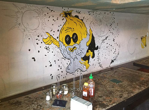 Blind Onion Pizza and Pub's new mural will feature the pub's iconic mascot, Fred T. Onion, as a wizard flying through space. (Blind Onion)