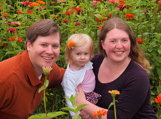 Nick and Allison Morton with their daughter Adelaide. (Small Wonders School)