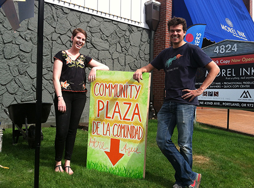 Laura Waddick and Arnoud Van Sisseren at the site of a future community plaza in the Cully neighborhood. (Jane Perkins)