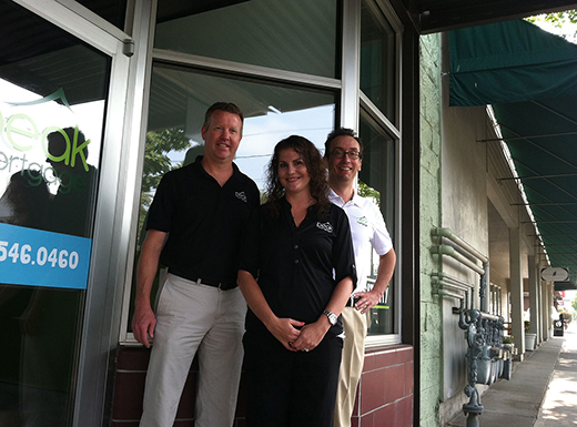 Eric Dunlap, left, Meghan Diehm and Rodrigo Hulse have opened a Peak Mortgage office in the former Hattie's Sweet Shop space in Beaumont Village. (Jane Perkins)