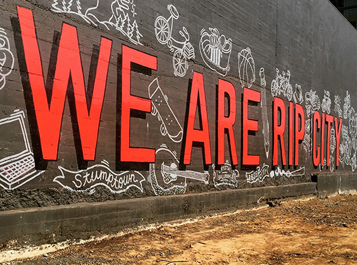 The Lloyd branch of Consolidated Community Credit Union has commissioned a Rip City mural on the side of its building, created by local artist Tom O'Toole. (Consolidated Community Credit Union)