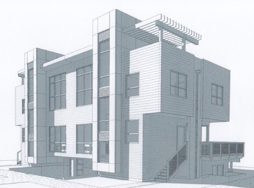 Conceptual sketch of two new condominiums located at 3435 and 3445 NE 51st Avenue expected to be placed on the market by the end of 2015. Each four-bedroom, three-and-one-half bath unit will be listed at between $800,000 and $850,000 subject to market conditions. The two unit building replaced a single family home demolished earlier this year. (Keller Williams Realty Professionals/Todd Lasher, Architect)