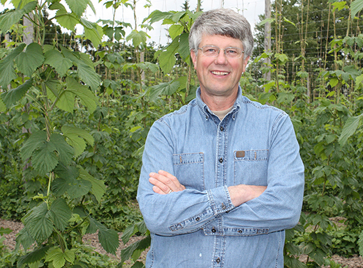 Pat Leavy has been raising hops for 38 years on his family farm near Champoeg State Park. (The Oregon Hophouse)