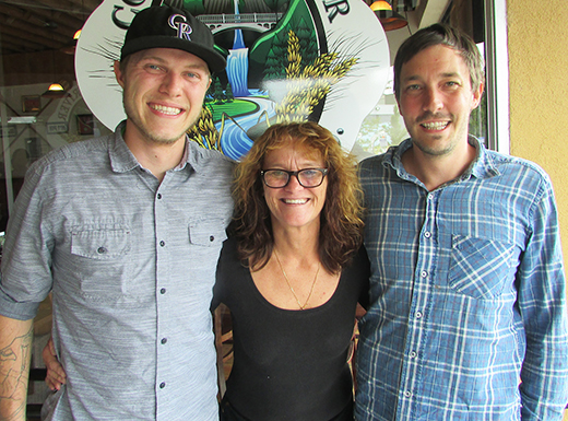 Chris York of Silver Stem, left, Lynn Burkhardt of Columbia River Brewing and Mike Chappell of Silver Stem are teaming up to host a fundraiser for the Hollywood Senior Center. (Ted Perkins)