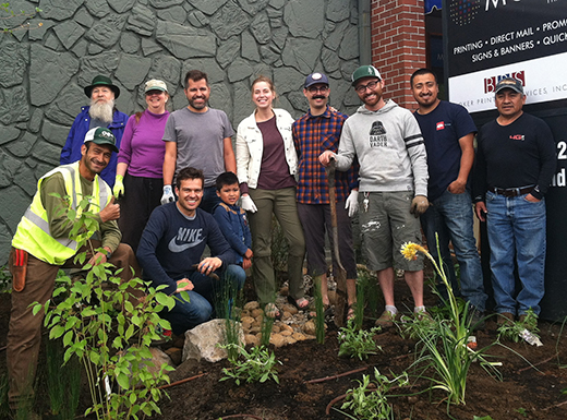 The Our 42nd Avenue neighborhood prosperity initiative held a planting party on Saturday June 11 to landscape a new community plaza in the Cully neighborhood. (Jane Perkins)
